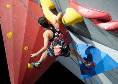 Aika climbing in the Para-Climbing World Championships